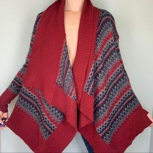 S Big Fold Over Collar Boho Knit Sweater